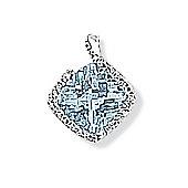 Jewelco London 9ct White Gold - Diamond & Blue Topaz - Charm Pendant -