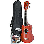 Tiger Beginners Ukulele in Red & Accessories Pack