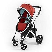 Tutti Bambini Riviera Plus 3 in 1 Silver Pram & Pushchair - Coral Red / Aqua
