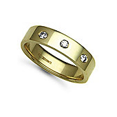 Jewelco London 9ct Yellow Gold 6mm Flat Court Diamond set 24pts Trilogy Wedding / Commitment Ring