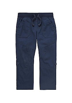 F&F Ribbed Waist Regular Fit Roll Up Trousers - Blue
