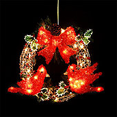 Natural Rattan Illuminated Wreath with 49 Warm White LEDs