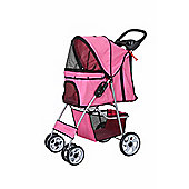Confidence Deluxe Four Wheel Pet Stroller Dog Pushchair Trolley Jogger Pink
