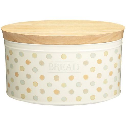 KitchenCraft Classic Ceramic Bread Bin with Wooden Lid