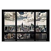 New York City Gloss Black Framed New York View Poster