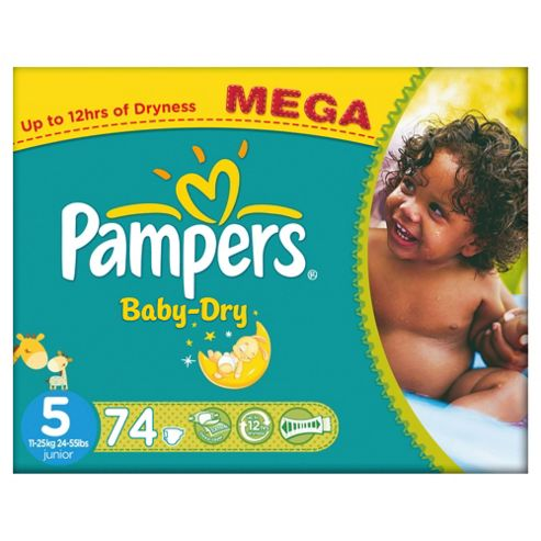 Pampers Baby Dry Size 5 Mega Pack - 74 nappies