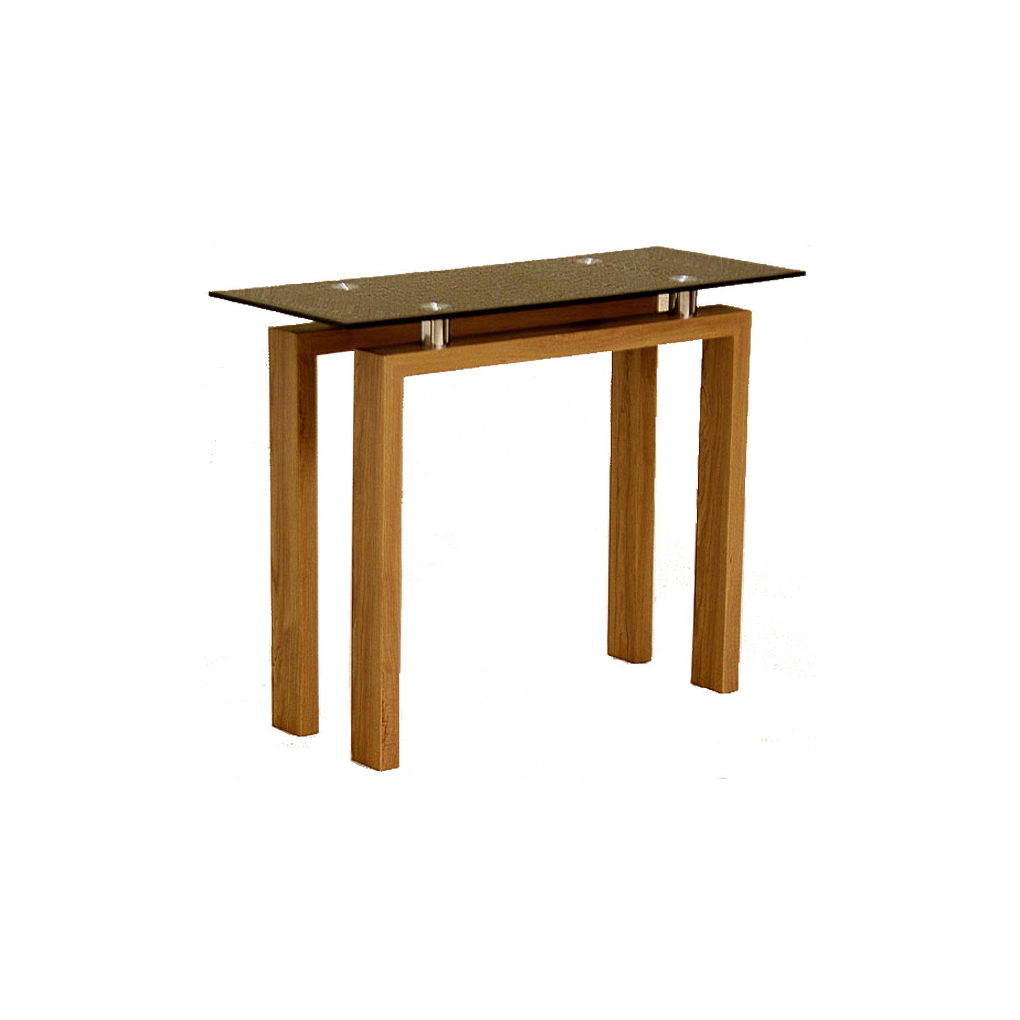 Adina Black Glass and Oak Effect Console Table