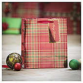 Tesco Tartan Christmas Gift Bag, Medium