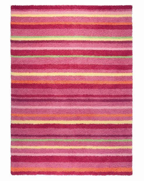 Esprit Funny Stripes Red Shag Rug - 70cm x 140cm