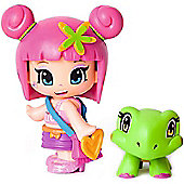 Pinypon Blister Figure and Pet - Pink Hair and Tortoise