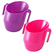 DOIDY Toddler Weening Training Cup TWIN PACK - Sparkle Pink & Sparkle Purple