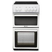 Hotpoint HAE51PS White Electric Cooker, Twin Cavity, Single Oven
