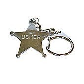 Pewter Wedding Usher Star Keyring