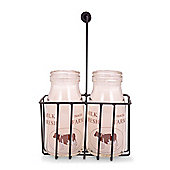 Unusual Glass Milk Bottle Candle Set With Wire Basket with Brown Cow