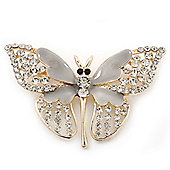 Dazzling Diamante /Light Grey Enamel Butterfly Brooch In Gold Plaiting - 70mm Width