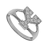 Silver Cubic Zirconia Identity ID Initial Signet Ring Letter Y