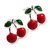 Tiny Red Enamel Cherry Stud Earrings (Silver Tone)