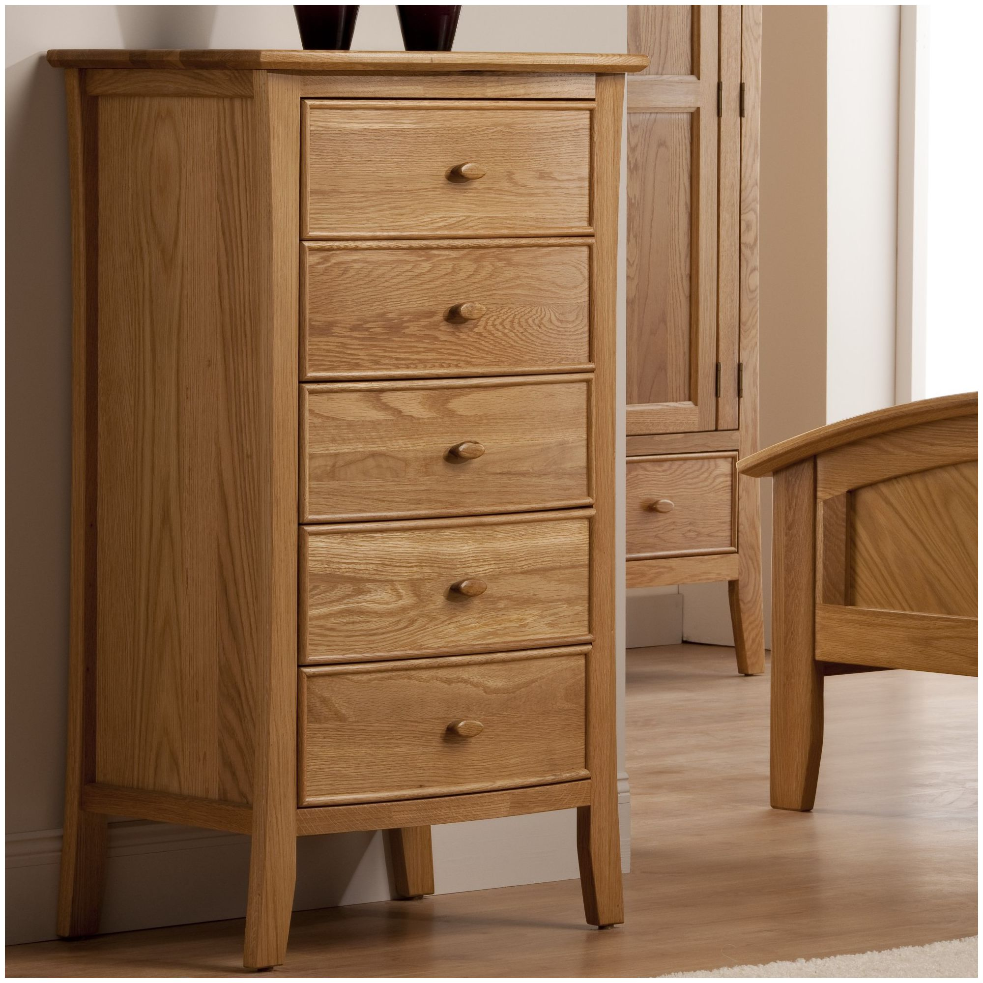 World Furniture Calgary Five Drawer Tallboy in Oak at Tescos Direct