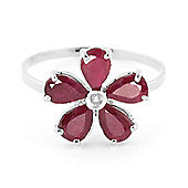 QP Jewellers Diamond & Ruby Foliole Ring in 14K White Gold