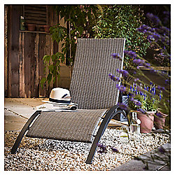 Tesco 4-position Sun Lounger, Taupe