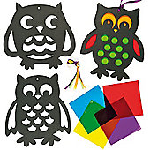 Owl Stained Glass Window Decorations (Pack of 6)