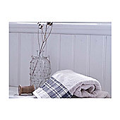Catherine Lansfield Home Cosy Corner Swing Check Border 450gsm Bath Sheet Cream & Navy