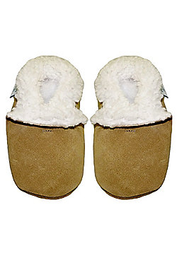 Dotty Fish Soft Suede Slippers - Tan - Tan
