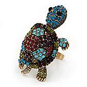 Large Multicoloured Crystal Turtle Ring In Burn Gold Metal - Adjustable - 5cm Length