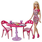 Barbie Glam Dining Room and Doll Playset