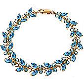 QP Jewellers 7in 16.50ct Blue Topaz Butterfly Bracelet in 14K Rose Gold