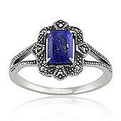 Gemondo Sterling Silver 0.90ct Lapis Lazuli & 8.8pt Marcasite Art Deco Style Ring