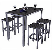 Buenos 4 Seater Rectangular Brushed Stainless & Plaswood Bar Set - Outdoor/Garden table and Chair set.