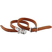 Acor Leather Toe Straps. One Pair, Brown