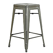 Xavier Pauchard Low Natural Metal Tolix Style Stool
