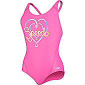 Speedo Girls Logo Placement Splashback Swimsuit - Pink