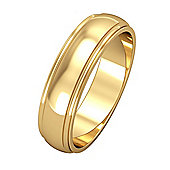 Jewelco London 18ct Yellow Gold - 5mm Essential D-Shaped Track Edge Band Commitment / Wedding Ring -