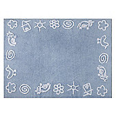Lorena Canals Granja Blue Children's Rug - 120 cm W x 160 cm D (3 ft 11 in x 5 ft 3 in)