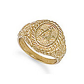 Jewelco London 9ct Solid Gold rope edge carved Masonic Ring