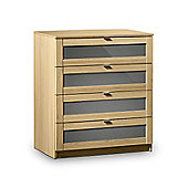 Strada Light Oak Finish with Grey 4 Drawer Chest