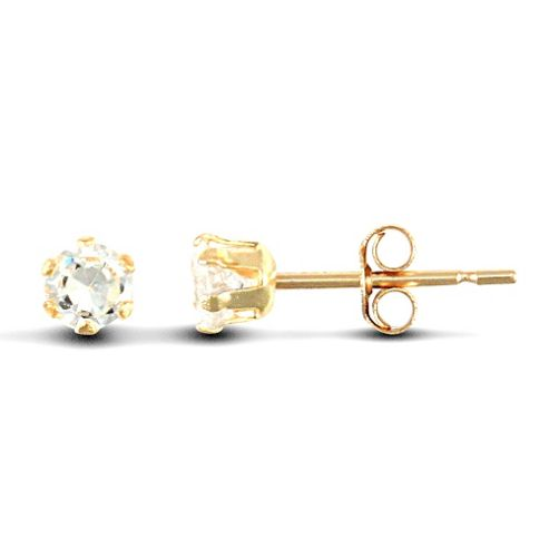 Jewelco London 9ct Yellow Gold studs claw-set with 3mm Solitaire CZ stone