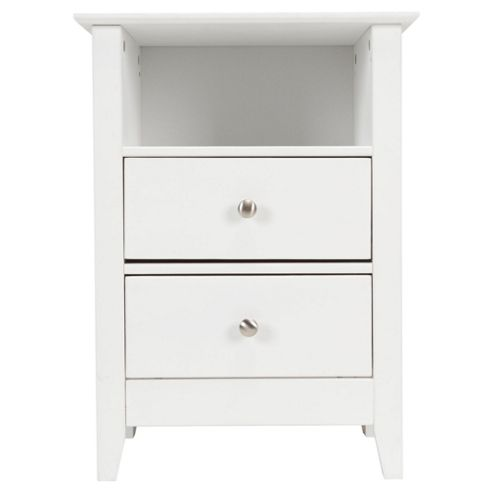 Winton 2 Drawer Bedside Table, White