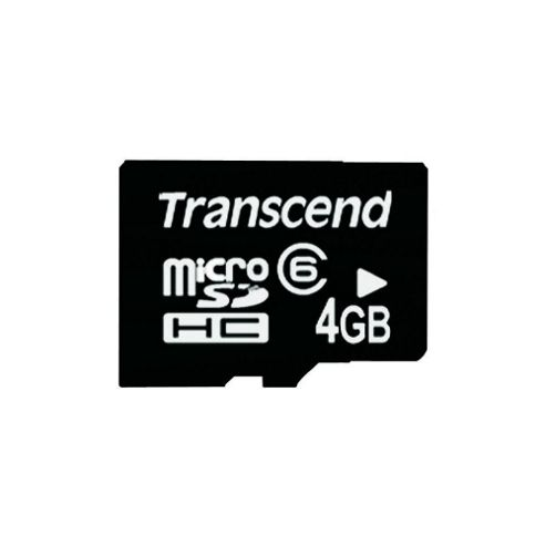 4GB MicroSDHC Class 6 Memory Card With Micro SD Adapter - Black