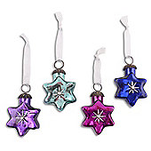 Vibrant Set Of Four Star Shaped Glass Christmas Baubles