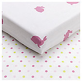 Tesco Bunny Toddler Bed Sheet, 2 Pack