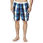 F&F Checked Mid Length Cargo Swim Shorts - Blue
