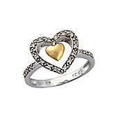 Sterling Silver and 9ct Rose Gold Cubic Zirconia Ring