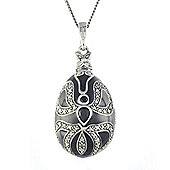 Gemondo Sterling Silver 0.37ct Black Onyx Faberge Egg Style 45cm Necklace