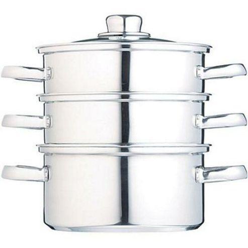 Kitchen Craft Clearview Stainless Steel Three Tier Steamer - 16cm