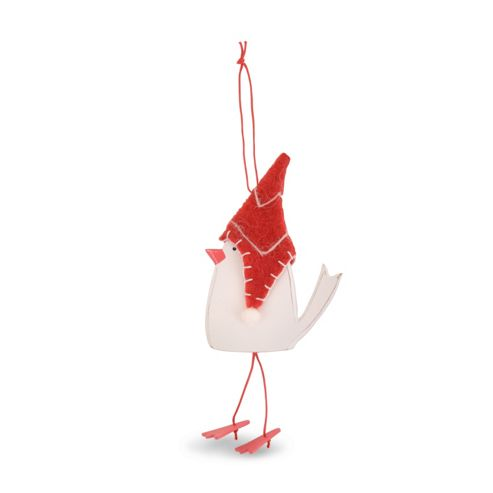 Left Facing Hanging Wooden Christmas Bird with Hat Tree Decoration
