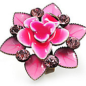 Pink Crystal Enamel Cocktail Ring (Bronze Tone)